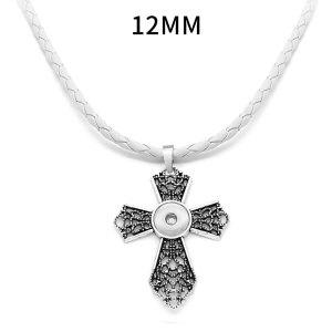 Croix fleur snap pendentif en argent avec collier en cuir pour bijoux de style snaps 12MM