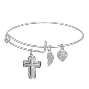 Bracelet en alliage avec pendentif coeur d'amour d'ailes croisées