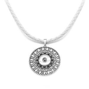 Croix fleur snap pendentif en argent avec collier en cuir pour bijoux de style snaps 20MM