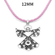 Angel Cross Flower Snap Silber Anhänger mit Lederhalskette passend für 12MM Snaps Style Schmuckhalskette für Frauen