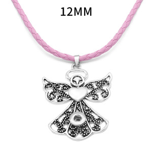Pendentif en argent avec bouton-pression de fleur d'ange avec collier en cuir pour bijoux de style boutons-pression de 12MM