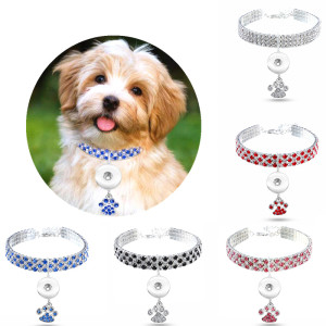 Le nouveau collier pour animaux de compagnie, les fournitures pour chat et chien en diamant et couleurs mélangées, les bijoux élastiques pour collier pour chat et chien conviennent à 1 bijoux à bouton-pression de 18 et 20 MM