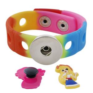 bracelet en silicone de style enfant junior PVC bracelet de jardin de dessin animé lumineux accessoires créatifs ins fluorescents arc-en-ciel