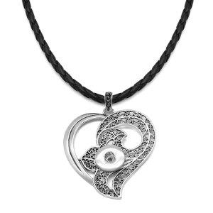 Pendentif en argent avec bouton de fleur en croix d'ange avec collier en cuir pour bijoux de style boutons-pression de 20MM