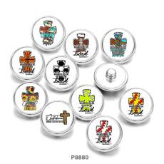 Painted metal 20mm snap buttons  Cross  Basketball  Football