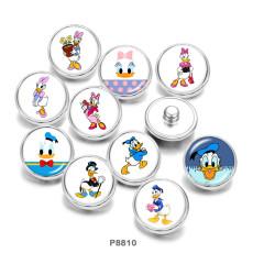 Botones a presión de metal pintado de 20 mm Pato Donald