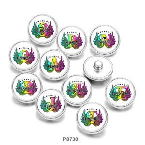 Painted metal 20mm snap buttons  Alphabet  Sped  Coach  Junior