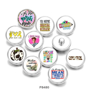 Painted metal 20mm snap buttons  Love peace  words