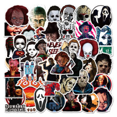 50 Halloween theme horror and thriller character graffiti stickers waterproof suitcase notebook sticker stickers