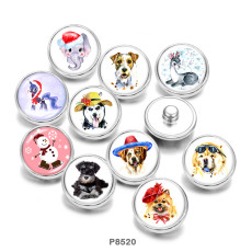 Botones a presión de metal pintado de 20 mm, botones a presión de vidrio para gato, perro, muñeco de nieve