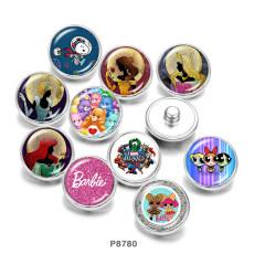 Payaso de muñeca princesa con botones a presión de metal pintado de 20 mm