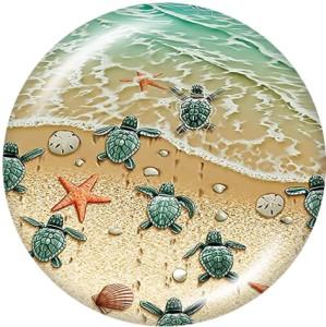 Boutons pression 20 mm en métal peint Plage Tortue de mer Océan