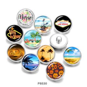 Boutons-pression en métal peint de 20 mm Boutons-pression en verre de plage Halloween