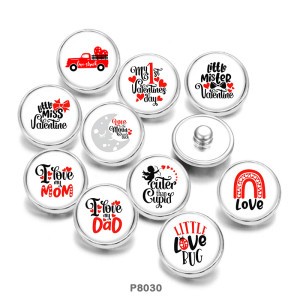 Painted metal 20mm snap buttons  Valentine's Day  MOM