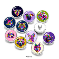 Painted metal 20mm snap buttons  Dog  Cat