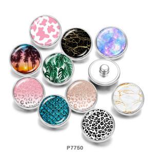 Motif de boutons-pression en métal peint de 20 mm