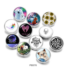 Boutons pression métal peint 20mm Maman Ours Chat Cheval