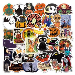 50 autocollants non répétitifs pour Halloween, Noël Fright Night, autocollants de décoration de vacances de personnalité, autocollants de graffiti