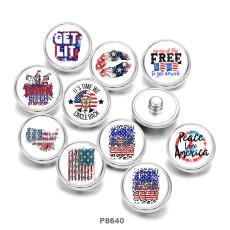 Botones a presión de metal pintado de 20 mm Bandera EE. UU.