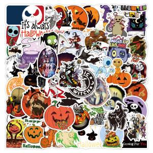 50 nouveaux autocollants Halloween thème Christmas Fright Night autocollants de décoration de vacances de personnalité graffiti autocollants