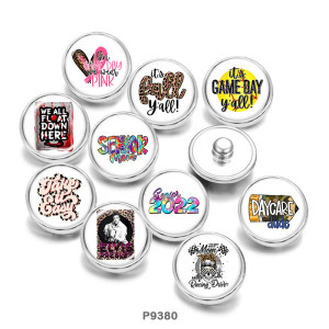 Painted metal 20mm snap buttons  love  mom