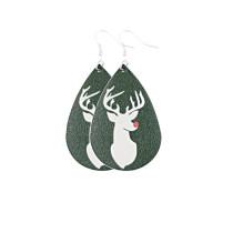 Boucles d'oreilles en cuir élan de noël chapeau de noël arbre de noël