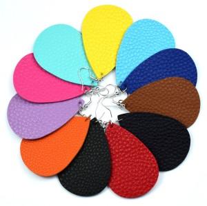 Кожаные серьги с разноцветным рисунком личи