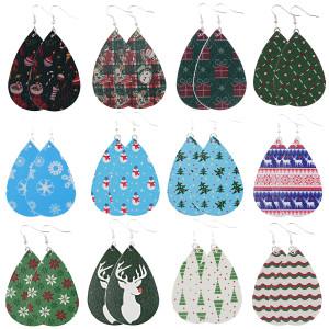 Новогодний лось новогодняя шапка новогодняя елка Кожаные серьги