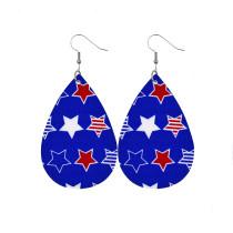 Drapeau américain jour de la victoire jour de l'indépendance amour étoile à cinq branches Boucles d'oreilles en cuir