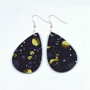 Хэллоуин сова призрак тыква череп Leaf Leather Earrings