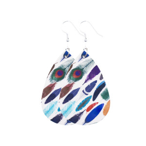 Перья разных цветов Кожаные серьги