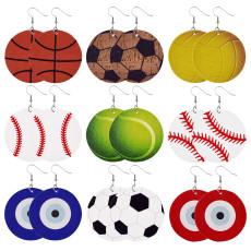 Boucles d'oreilles en cuir balle ronde baseball basketball football