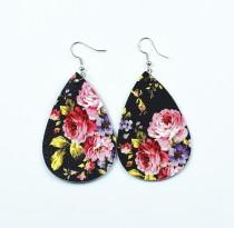 Fleurs de différentes couleurs Boucles d'oreilles en cuir
