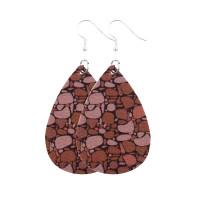 Boucles d'oreilles en cuir texture bois sciure