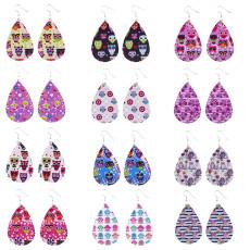 Boucles d'oreilles en cuir chouette multicolore