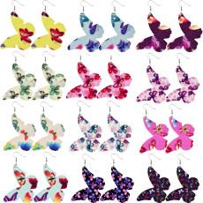Boucles d'oreilles en cuir couleur papillon