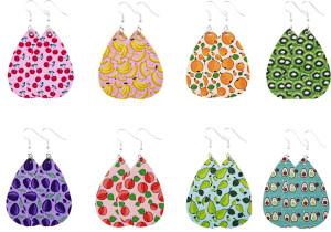 Кожаные серьги фруктового цвета