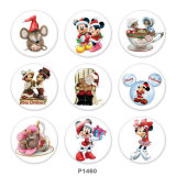 20MM Noël Mickey Mouse Print boutons pressions en verre