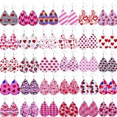 Boucles d'oreilles en cuir rose love saint valentin