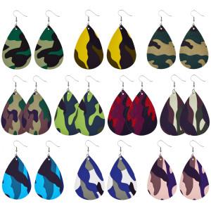 Кожаные серьги камуфляжного цвета
