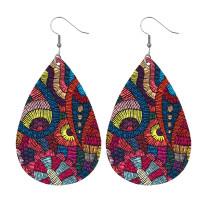 Boucles d'oreilles en cuir motif de couleur irrégulière