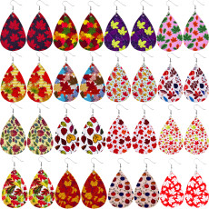 Boucles d'oreilles en cuir de Thanksgiving Maple Leaf