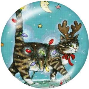 Стеклянные кнопки с изображением рождественского кота и оленя, 20 мм