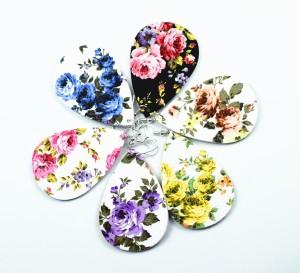 Цветы в разных цветах Кожаные серьги
