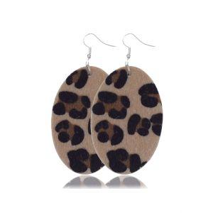 Плюшевые кожаные серьги с леопардовым принтом