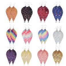 Boucles d'oreilles en cuir à paillettes brillantes