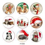 20MM Christmas Cat Dog Print Glasdruckknöpfe