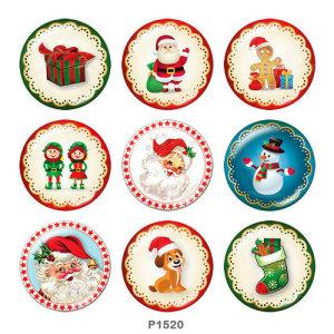 20MM Рождество Санта-Клаус Снеговик Принт стеклянные кнопки