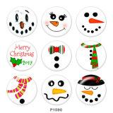 20MMクリスマススノーマンプリントガラススナップボタン