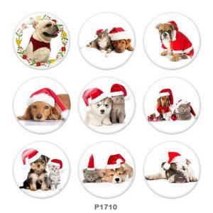 Boutons pressions en verre à imprimé chat et chien de Noël 20MM